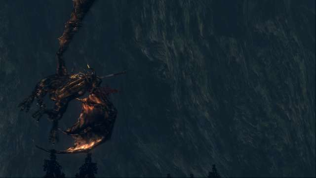 PC 版 DARK SOULS with ARTORIAS OF THE ABYSS EDITION(Prepare To Die Edition) DSfix スクリーンショット、エリア 王家の森庭(Royal Wood) 鷹の目ゴー 黒竜カラミット イベントシーン