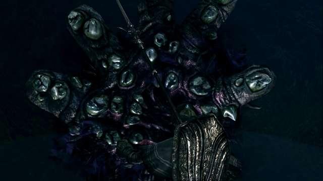 PC 版 DARK SOULS with ARTORIAS OF THE ABYSS EDITION(Prepare To Die Edition) DSfix スクリーンショット、エリア 狭間の森(Dark Root Basin) 公爵の書庫で割れたペンダント入手後、狭間の森のクリスタルゴーレム(琥珀)がいた場所にある黒い穴を調べると DLC エリア 霊廟・裏庭に移動するイベント発生