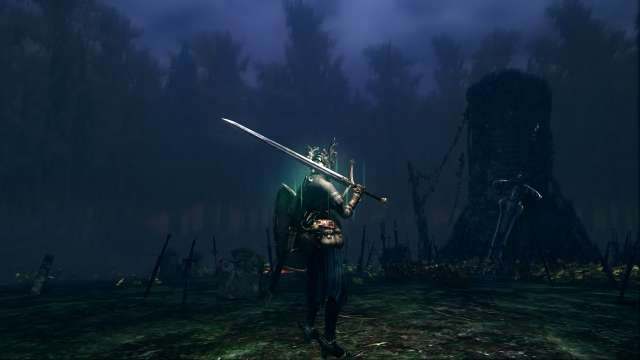 PC 版 DARK SOULS with ARTORIAS OF THE ABYSS EDITION(Prepare To Die Edition) DSfix スクリーンショット、エリア 黒い森の庭(Darkroot Garden) エリアボス 灰色の大狼シフ戦前