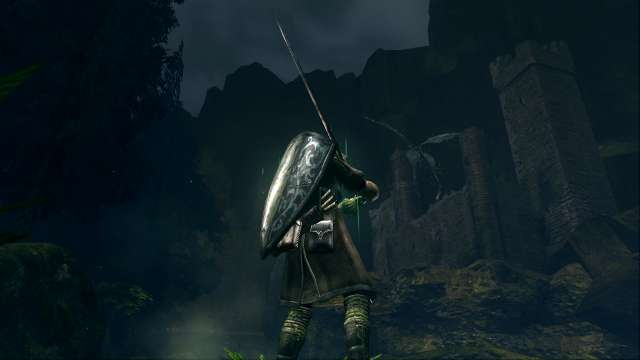 PC 版 DARK SOULS with ARTORIAS OF THE ABYSS EDITION(Prepare To Die Edition) DSfix スクリーンショット、エリア 黒い森の庭(Darkroot Garden) エリアボス 月光蝶、遠景から視認
