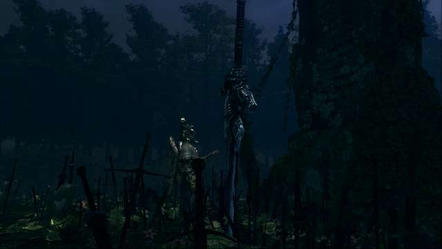 PC 版 DARK SOULS with ARTORIAS OF THE ABYSS EDITION(Prepare To Die Edition) DSfix スクリーンショット、エリア 黒い森の庭(Darkroot Garden) エリアボス 灰色の大狼シフ 登場シーン