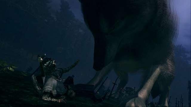 PC 版 DARK SOULS with ARTORIAS OF THE ABYSS EDITION(Prepare To Die Edition) DSfix スクリーンショット、エリア 黒い森の庭(Darkroot Garden) エリアボス 灰色の大狼シフ 登場シーン