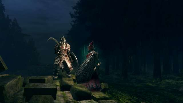 PC 版 DARK SOULS with ARTORIAS OF THE ABYSS EDITION(Prepare To Die Edition) DSfix スクリーンショット、エリア 黒い森の庭(Darkroot Garden) 森の狩猟者誓約後、狩猟団長シバ登場
