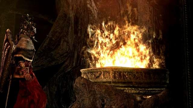 PC 版 DARK SOULS with ARTORIAS OF THE ABYSS EDITION(Prepare To Die Edition) DSfix スクリーンショット、エリア 火継ぎの祭壇(Firelink Altar) 王の器に 4つ目の王のソウルを捧げるシーン