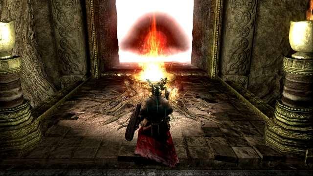 PC 版 DARK SOULS with ARTORIAS OF THE ABYSS EDITION(Prepare To Die Edition) DSfix スクリーンショット、エリア 火継ぎの祭壇(Firelink Altar) 王の器に 4つの王のソウルを捧げて扉を開放