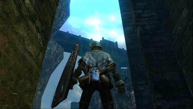 PC 版 DARK SOULS with ARTORIAS OF THE ABYSS EDITION(Prepare To Die Edition) DSfix スクリーンショット、エリア 火継ぎの祭祀場(Firelink Shrine)、序盤の攻略先、城下不死街(Undead Burg)へ向かう水路橋の下