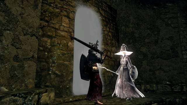 PC 版 DARK SOULS with ARTORIAS OF THE ABYSS EDITION(Prepare To Die Edition) DSfix スクリーンショット、エリア 小ロンド遺跡(New Londo Ruins) NCP 霊体 異端の魔女ビアトリス 召喚