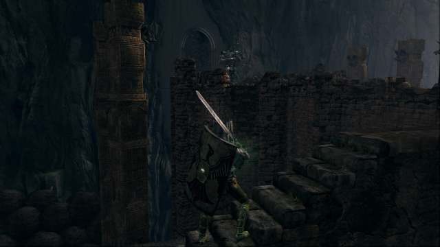PC 版 DARK SOULS with ARTORIAS OF THE ABYSS EDITION(Prepare To Die Edition) DSfix スクリーンショット、エリア センの古城(Sens Fortress) エリアボス アイアンゴーレム前