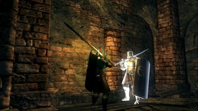 PC 版 DARK SOULS with ARTORIAS OF THE ABYSS EDITION(Prepare To Die Edition) DSfix スクリーンショット、エリア センの古城(Sens Fortress) NPC 霊体 黒鉄のタルカス 召喚