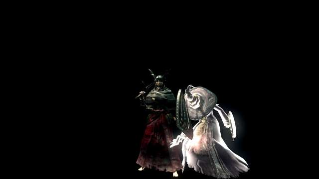 PC 版 DARK SOULS with ARTORIAS OF THE ABYSS EDITION(Prepare To Die Edition) DSfix スクリーンショット、エリア 深淵(The Abyss) ボスエリア 四人の公王、NPC 霊体 異端の魔女ビアトリス召喚状態