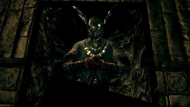 PC 版 DARK SOULS with ARTORIAS OF THE ABYSS EDITION(Prepare To Die Edition) DSfix スクリーンショット、エリア 地下墓地(The Catacombs) 死の瞳を持った状態で棺に入ると、墓王ニトがいる巨人墓場ボスエリアに移動(この時点ではボス戦なし)
