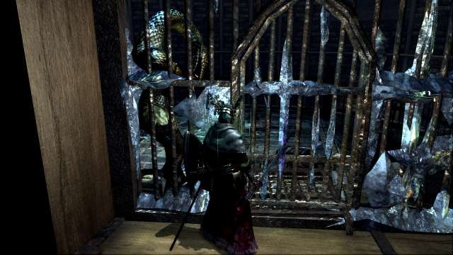 PC 版 DARK SOULS with ARTORIAS OF THE ABYSS EDITION(Prepare To Die Edition) DSfix スクリーンショット、エリア 公爵の書庫(The Dukes Archives) 白竜シース イベント戦後、書庫塔牢屋の篝火