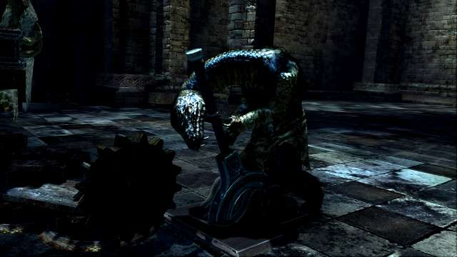 PC 版 DARK SOULS with ARTORIAS OF THE ABYSS EDITION(Prepare To Die Edition) DSfix スクリーンショット、エリア 公爵の書庫(The Dukes Archives) 書庫塔 音を鳴らす装置作動、スキュラ登場シーン