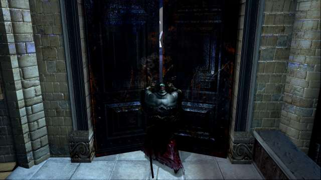 PC 版 DARK SOULS with ARTORIAS OF THE ABYSS EDITION(Prepare To Die Edition) DSfix スクリーンショット、エリア 公爵の書庫(The Dukes Archives) 書庫塔大扉開放、書庫本館へ