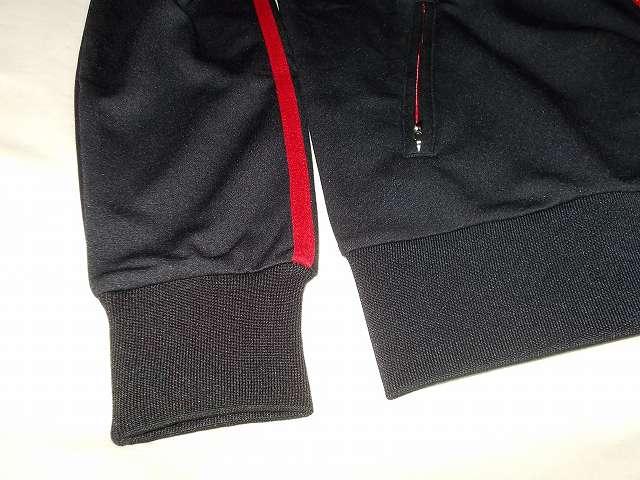 UnitedAthle ユナイテッドアスレ 7.0オンス ジャージ ラグランスリーブ ジャケット 1995-01 9830 ブラック/レッド/ホワイト 袖口と腰部分は裾リブ(ゴム)