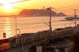 江ノ電と夕焼け