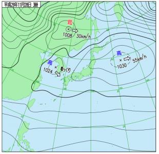 11月28日3時の実況天気図