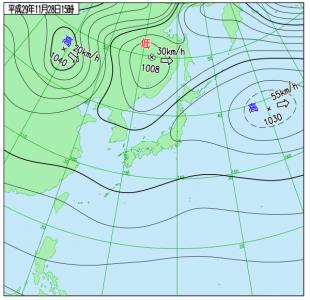 11月28日(火)15時の実況天気図