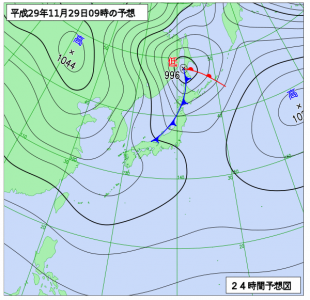 11月29日(水)9時の予想天気図