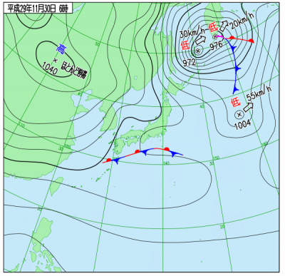 11月30日(木)6時の実況天気図