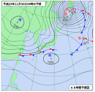 11月30日(木)9時の予想天気図