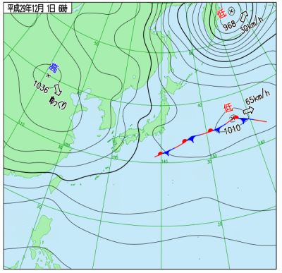 12月1日(金)6時の実況天気図