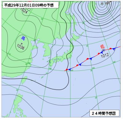 12月1日(金)9時の予想天気図
