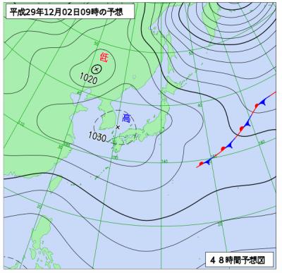 12月2日(土)9時の予想天気図