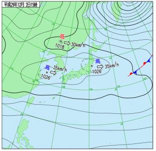 12月2日(土)15時の実況天気図