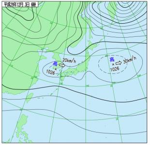 12月3日(日)6時の実況天気図