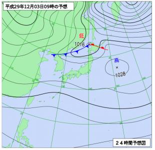 12月3日(日)9時の予想天気図