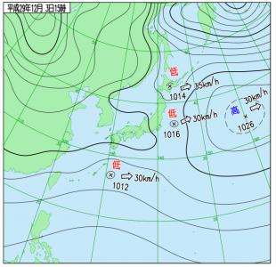 12月3日(日)15時の実況天気図