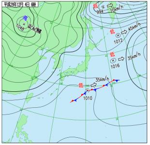 12月4日(月)6時の実況天気図