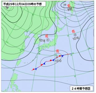 12月4日(月)9時の予想天気図