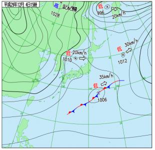 12月4日(月)15時の実況天気図