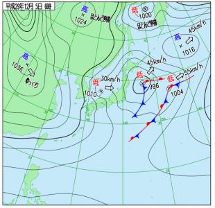 12月5日(火)6時の実況天気図