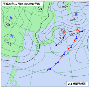 12月5日(火)9時の予想天気図