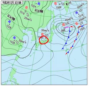 12月5日(火)15時の実況天気図