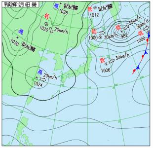 12月6日(水)6時の実況天気図