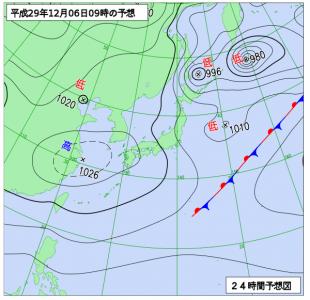 12月6日(水)9時の予想天気図