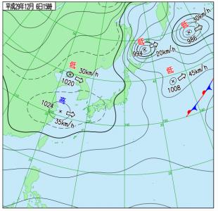 12月6日(水)15時の実況天気図