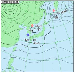 12月7日(木)6時の実況天気図
