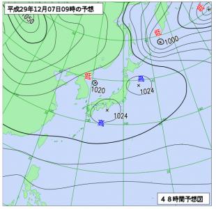 12月7日(木)9時の予想天気図