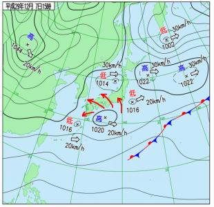 12月7日(木)15時の実況天気図