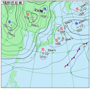 12月8日(金)6時の実況天気図