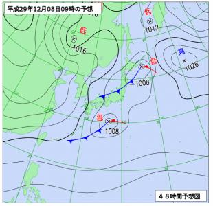 12月8日(金)9時の予想天気図