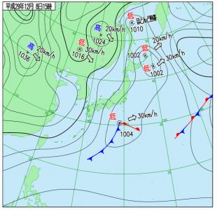 12月8日(金)15時の実況天気図