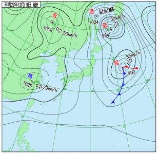 12月9日(土)6時の実況天気図