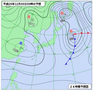 12月9日(土)9時の予想天気図