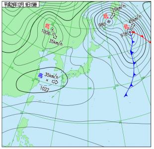12月9日(土)15時の実況天気図